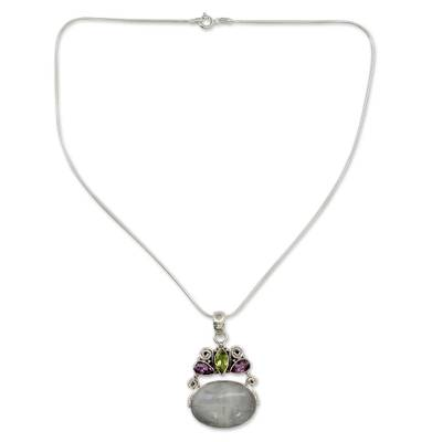 Rainbow moonstone and amethyst pendant necklace, 'Aura' - Rainbow Moonstone Necklace in Sterling Silver from India