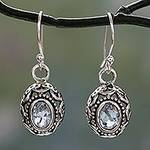 Blue Topaz Earrings Sterling Silver Jewelry from India, 'Surreal'