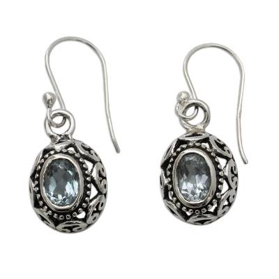 Blue Topaz Earrings Sterling Silver Jewelry from India