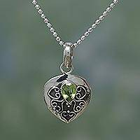 Peridot heart necklace, 'Love's Magic' - Peridot and Silver Pendant Necklace