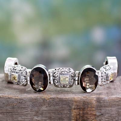 Smoky quartz and citrine pendant bracelet, 'Imperial' - Fair Trade Sterling Silver Smoky Quartz Bracelet