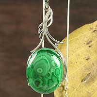 Malachite pendant necklace, 'Love Lyrics'