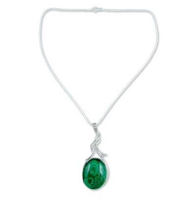 Malachite pendant necklace, 'Love Lyrics' - Malachite Pendant Sterling Silver Necklace from India