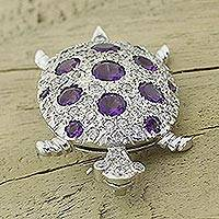 Amethyst and quartz brooch pin, 'Silver Turtle' - Amethyst and quartz brooch pin