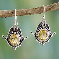 Citrine dangle earrings, 'Jaipuri Glam' - Citrine Earrings in Sterling Silver Jewelry from India