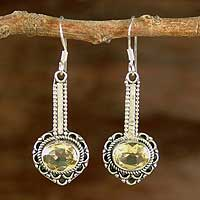 Citrine dangle earrings, 'Heart of Gold' - Hand Crafted Indian Sterling Silver and Citrine Earrings