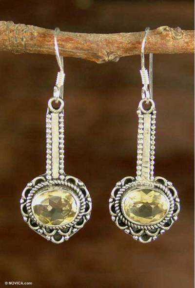 Hand Crafted Indian Sterling Silver and Citrine Earrings