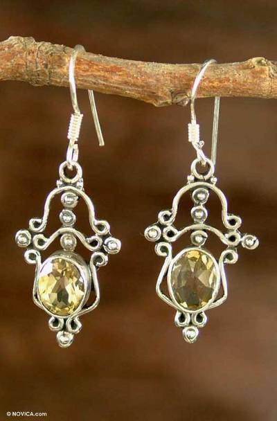 Sterling Silver and Citrine Chandelier Earrings