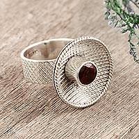 Garnet cocktail ring, 'Checkered Fountain' - Garnet cocktail ring