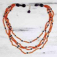 Carnelian and amethyst strand necklace, 'Sunshine' - Carnelian and amethyst strand necklace