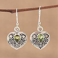 Peridot heart earrings, 'Love's Magic' - Peridot and Sterling Silver Earrings Heart Jewelry