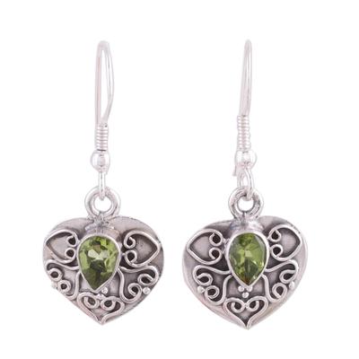 Peridot and Sterling Silver Earrings Heart Jewelry