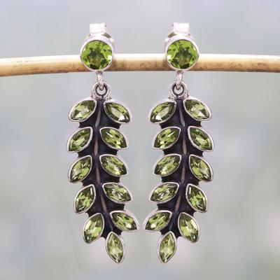 Peridot dangle earrings, 'Summer Fern' - Artisan Crafted Sterling Silver and Peridot Earrings
