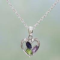 Amethyst and peridot heart necklace, 'All of Us' - Heart Pendant Necklace with Amethyst and Peridot