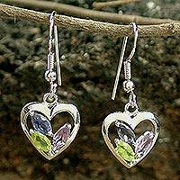 Amethyst and peridot heart earrings, 'All of Us' - Amethyst and Peridot Heart Earrings