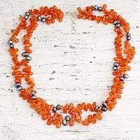 Pearl and carnelian strand necklace, 'Opulent Ginger' - Pearl and carnelian strand necklace