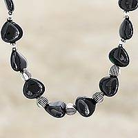 Onyx heart necklace, 'Night of Love'