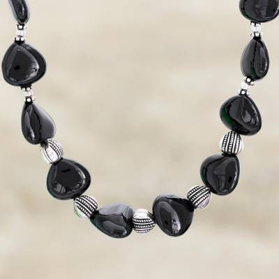 Onyx heart necklace, 'Night of Love' - Onyx heart necklace