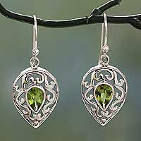 Peridot drop earrings, 'Lime Lace' - India jewellery Earrings in Sterling Silver and Peridot