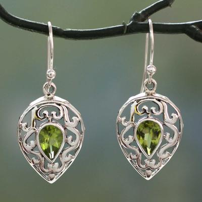Peridot drop earrings, 'Lime Lace' - India jewellery Earrings in Sterling Silver and Peridot