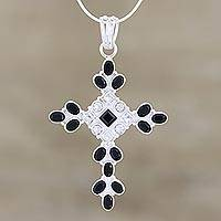 Onyx and quartz cross necklace, 'Honesty' - Sterling Silver Onyx and Quartz Necklace Cross Jewelry