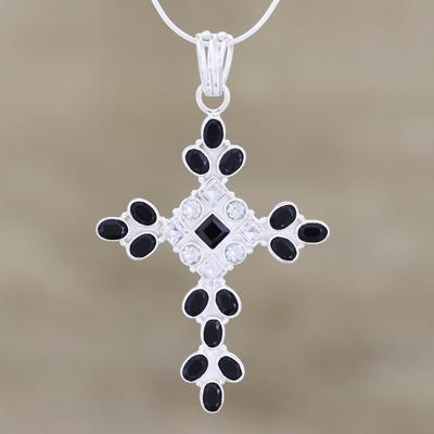 Onyx and quartz cross necklace, 'Honesty' - Sterling Silver Onyx and Quartz Necklace Cross Jewelry
