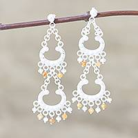 Carnelian and rainbow moonstone chandelier earrings, 'Lace' - Sterling Silver Carnelian and Rainbow Moonstone Earrings