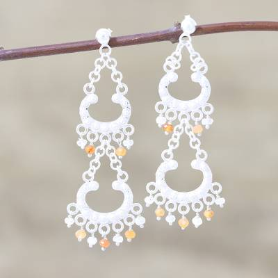 Carnelian and rainbow moonstone chandelier earrings, 'Lace' - Sterling Silver Carnelian and Rainbow Moonstone Earrings