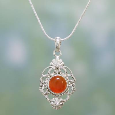 Carnelian pendant necklace, 'Bouquet' - Carnelian and Sterling Silver Pendant Necklace