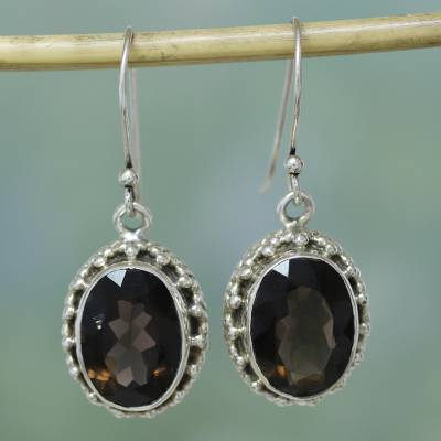 Smoky quartz drop earrings, 'Dazzle' - Smoky Quartz Earrings Sterling Silver Jewelry