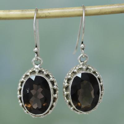 Smoky Quartz Drop Earrings Dazzle Sterling Silver Jewelry