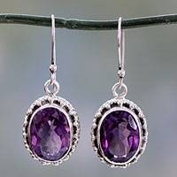 Amethyst drop earrings, 'Dazzle' - Handmade Sterling Silver and Amethyst Earrings from India