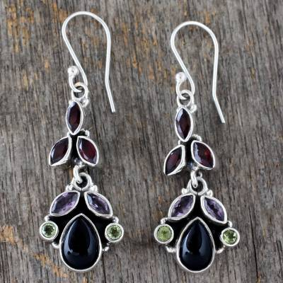 Onyx and amethyst dangle earrings, 'Abundance' - Natural Gemstone Earrings Sterling Silver jewellery from Ind