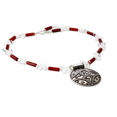 Quartz and carnelian pendant necklace, 'Charisma' - Quartz and carnelian pendant necklace