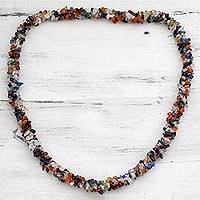 Lapis and amethyst long necklace, 'Rainbow' - Rainbow Cluster Multigem Long Necklace