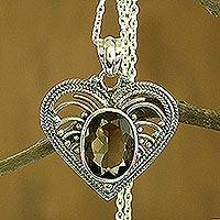 Smoky quartz heart necklace, 'Love Rejoice' - Smoky Quartz and Sterling Silver Heart Pendant Necklace