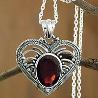 Garnet heart necklace, 'Love Rejoice' - Unique Heart Shaped Sterling Silver and Garnet Necklace