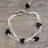 Onyx bracelet, 'Forever' - Sterling Silver and Onyx Multi Chain Bracelet from India