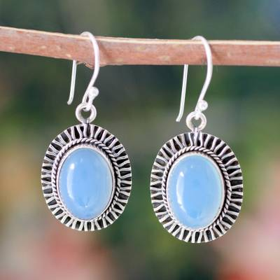 Chalcedony dangle earrings, 'Radiant Sky' - Chalcedony dangle earrings
