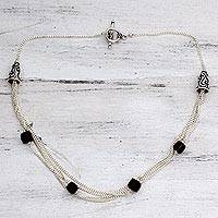 Smoky quartz choker, 'Forever' - Sterling Silver and Smoky Quartz Choker from India