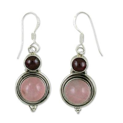 Garnet and rose quartz dangle earrings, 'Rosy Future' - Garnet and rose quartz dangle earrings