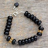 Onyx and citrine dangling bracelet, 'Heart Style' - Fair Trade Beaded Onyx Bracelet