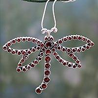 Garnet pendant necklace, 'Dragonfly of Love' - Garnet pendant necklace