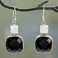 Onyx drop earrings, 'Delight' - Sterling Silver and Onyx Drop Earrings