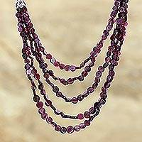 Garnet strand necklace, 'Desire' - Garnet strand necklace