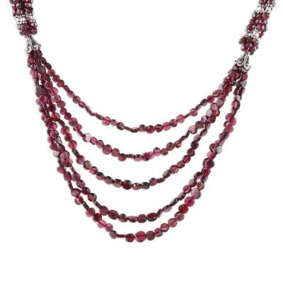 Garnet strand necklace, 'Desire'