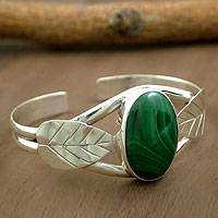 Malachite cuff bracelet, 'Ivy' - Artisan Crafted Sterling Silver Cuff Malachite Bracelet