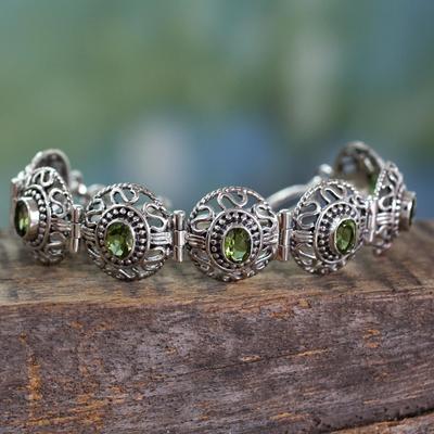 Peridot link bracelet, 'Lime Halo' - Sterling Silver jewellery Peridot Bracelet