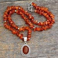 Carnelian pendant necklace, 'Flame of Love' - Fair Trade Carnelian Pendant Necklace