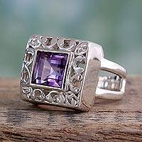 Amethyst cocktail ring, 'Soul Window' - Amethyst cocktail ring